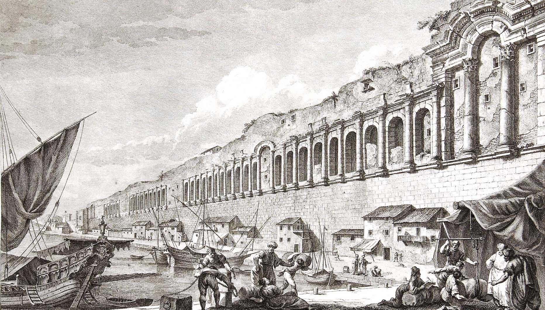 2 The remains of the sea front of Diocletian's Palace at Split. Engraving by Paolo Santini, Plate VII from Robert Adam's Ruins of the Palace of the Emperor Diocletian at Spalatro in Dalmatia (1764)