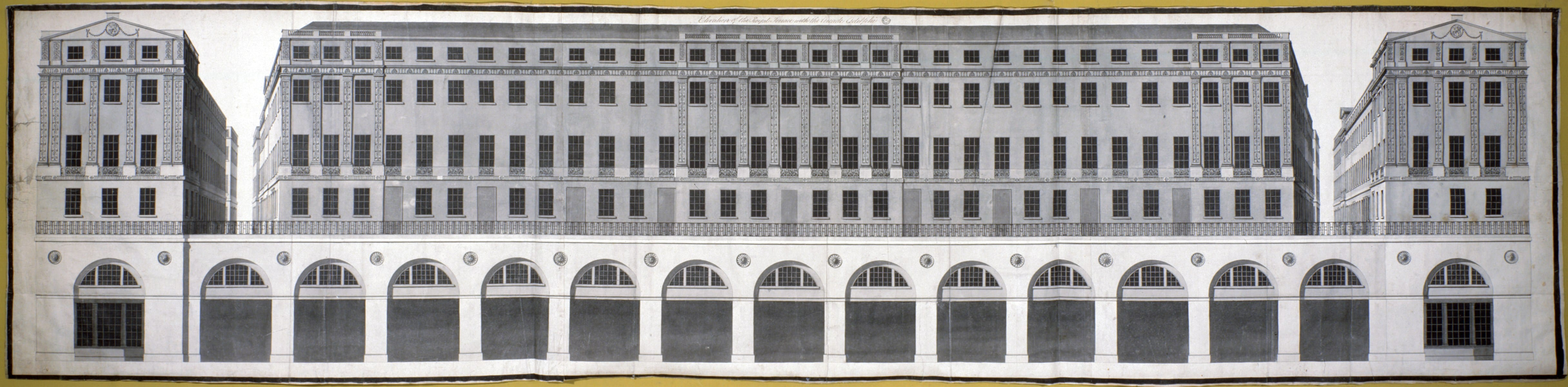 3 Adam office design for the riverfront elevation of the Adelphi development. Sir John Soane's Museum (Adam vol. 32/10)
