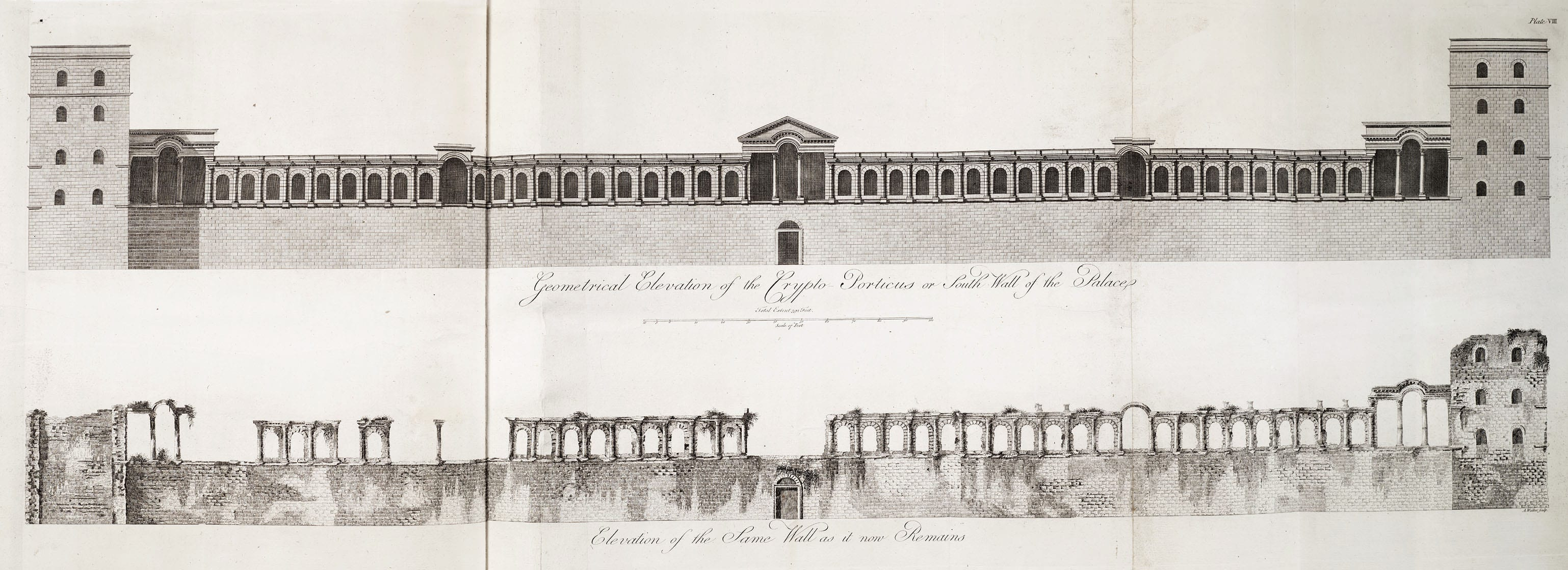 3, 4 Adam office design for the riverfront elevation of the Adelphi development (Sir John Soane's Museum, Adam vol. 32/10), and elevations of the sea wall of Diocletian's Palace (Plate VIII from Adam's Ruins of the Palace of the Emperor Diocletian)