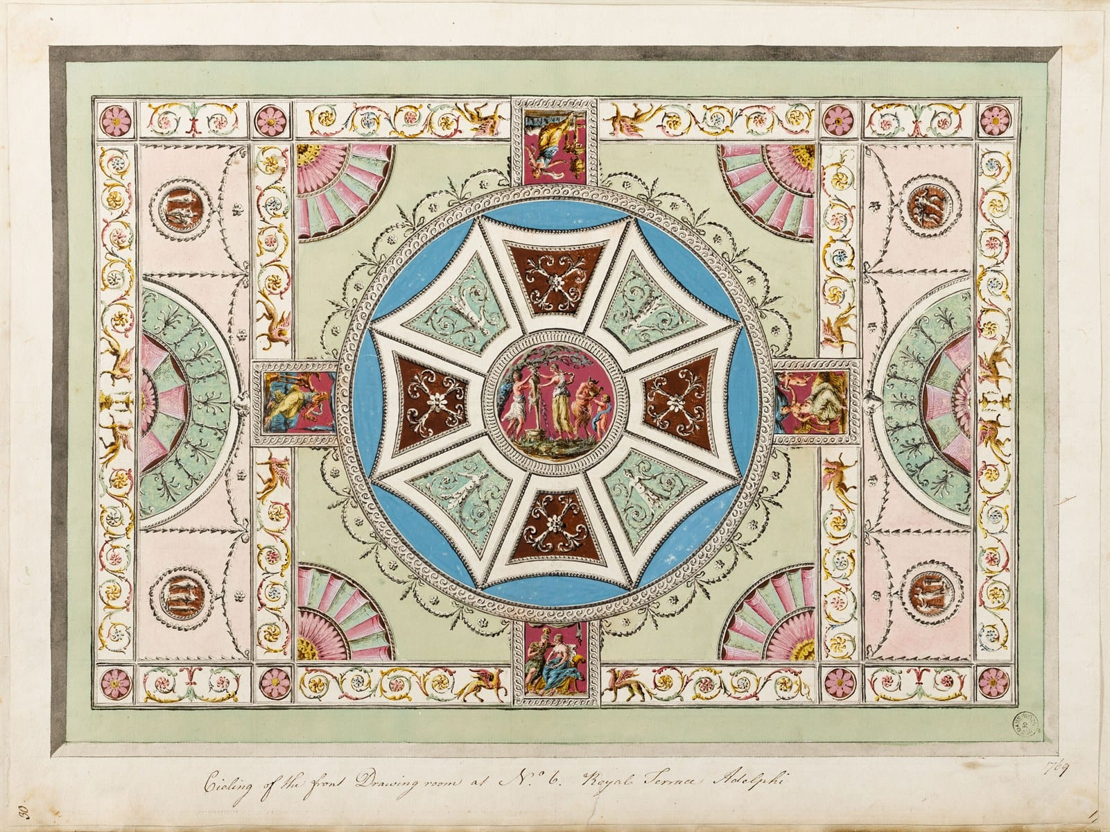 8 Adam design for the front drawing-room ceiling in David Garrick's house. Sir John Soane's Museum (Adam vol. 13/30)