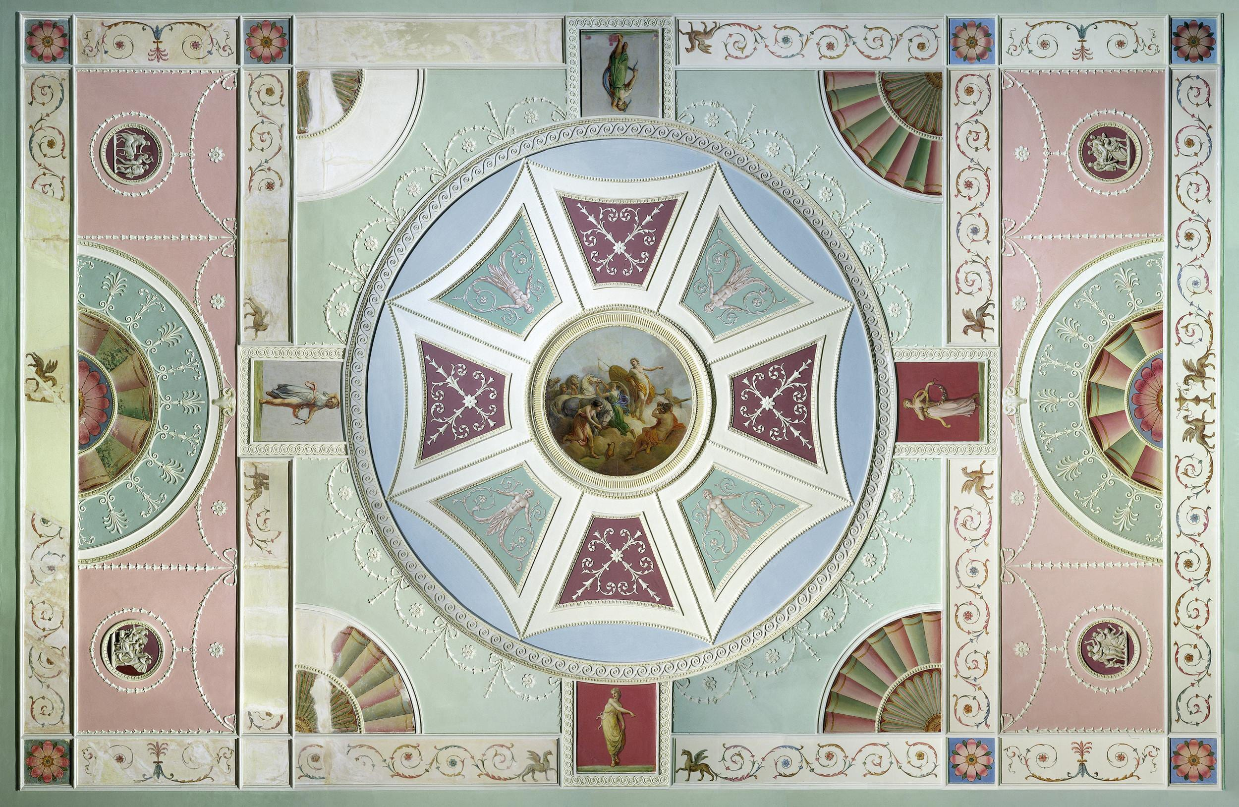 14 The ceiling from Garrick's front drawing room in the V&A British Galleries. Photograph © Victoria and Albert Museum