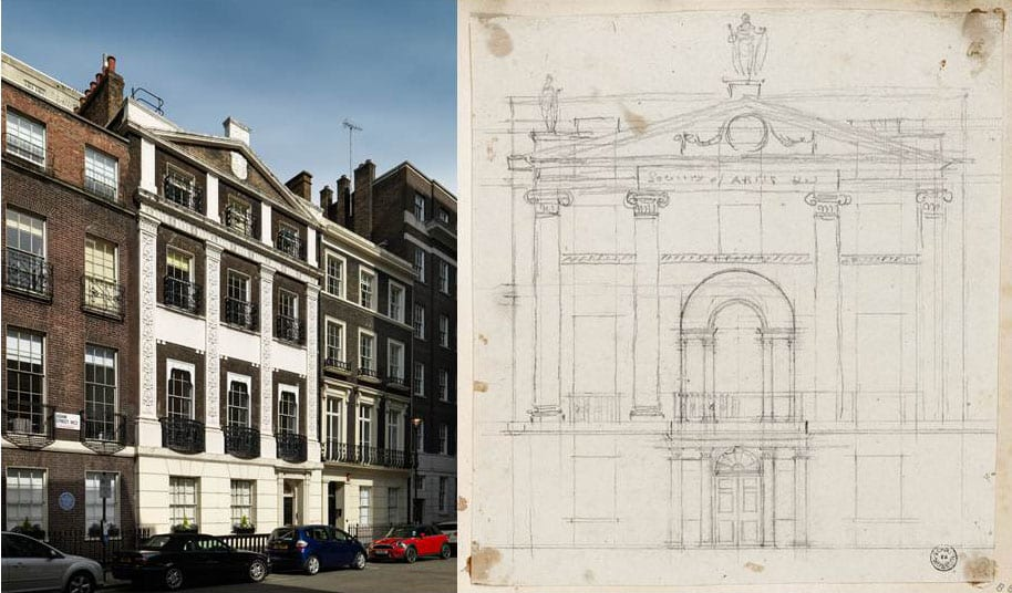 12, 13 Surviving houses in Adam Street, 2016 (Historic England photograph by Chris Redgrave) and Robert Adam's pencil design for the elevation of the Royal Society of Arts building, John Adam Street (Sir John Soane's Museum, Adam vol. 30/28)
