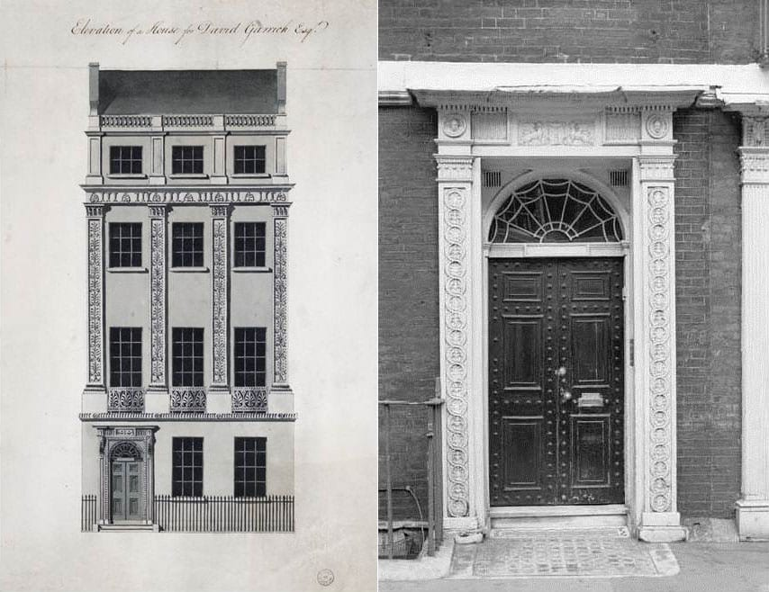 6, 7 David Garrick's House, Royal Terrace (Adam office elevation in Sir John Soane's Museum, Adam vol. 42/60), and a typical Adelphi doorcase at No. 9 Adam Street (Historic England Archive photograph, AA65/06112)
