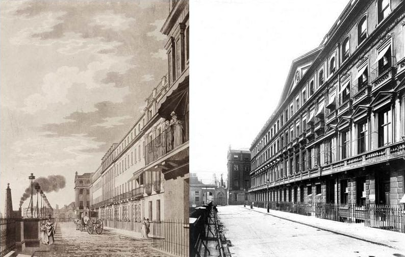 9, 10 Adelphi Terrace in the 1790s (from Thomas Malton's A Picturesque Tour Through the Cities of London and Westminster, 1792–1801), and in 1901 (Bedford Lemere photograph in Historic England Archive, BL16618/001)