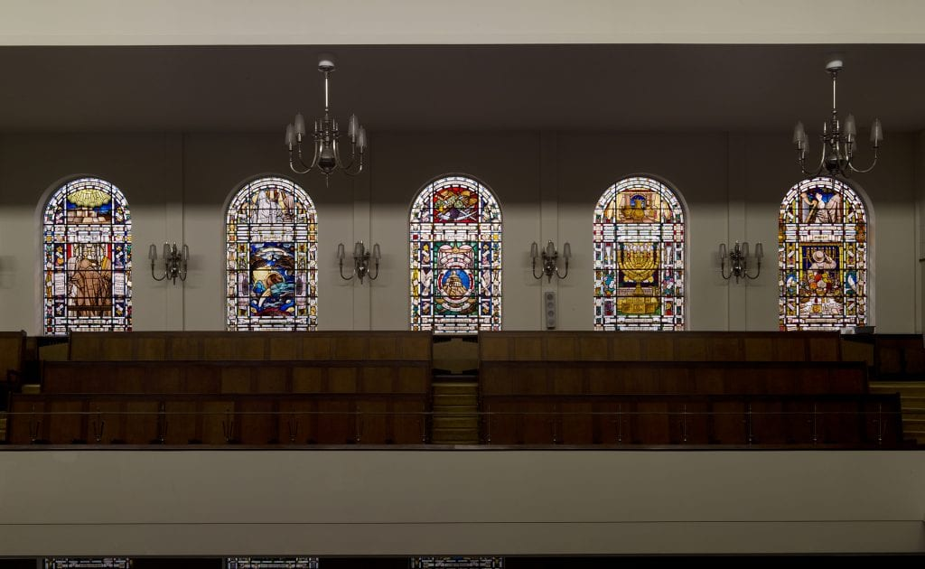Central Synagogue, Great Portland Street,Marylebone, Greater London. View of east windows. Taken for the Survey of London.