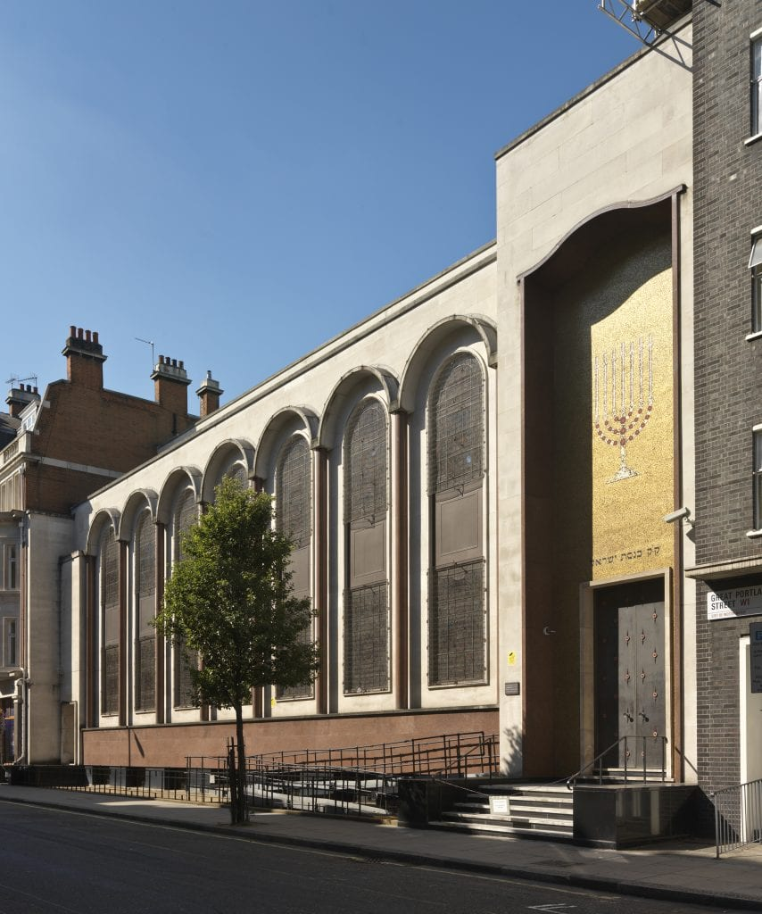 Central Synagogue, Great Portland street, Marylebone, Greater London. Exterior view from north east. Taken for the Survey of London.