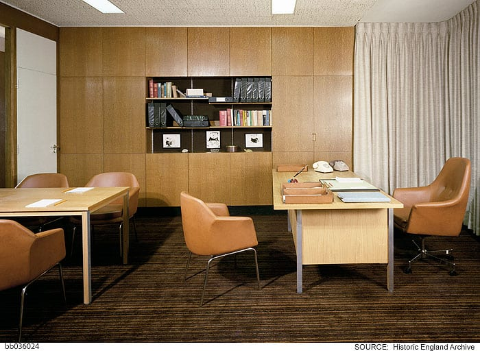Typical director's office on the eighth floor. Photographed by Millar & Harris c. 1974 © Historic England Archive, bb036024