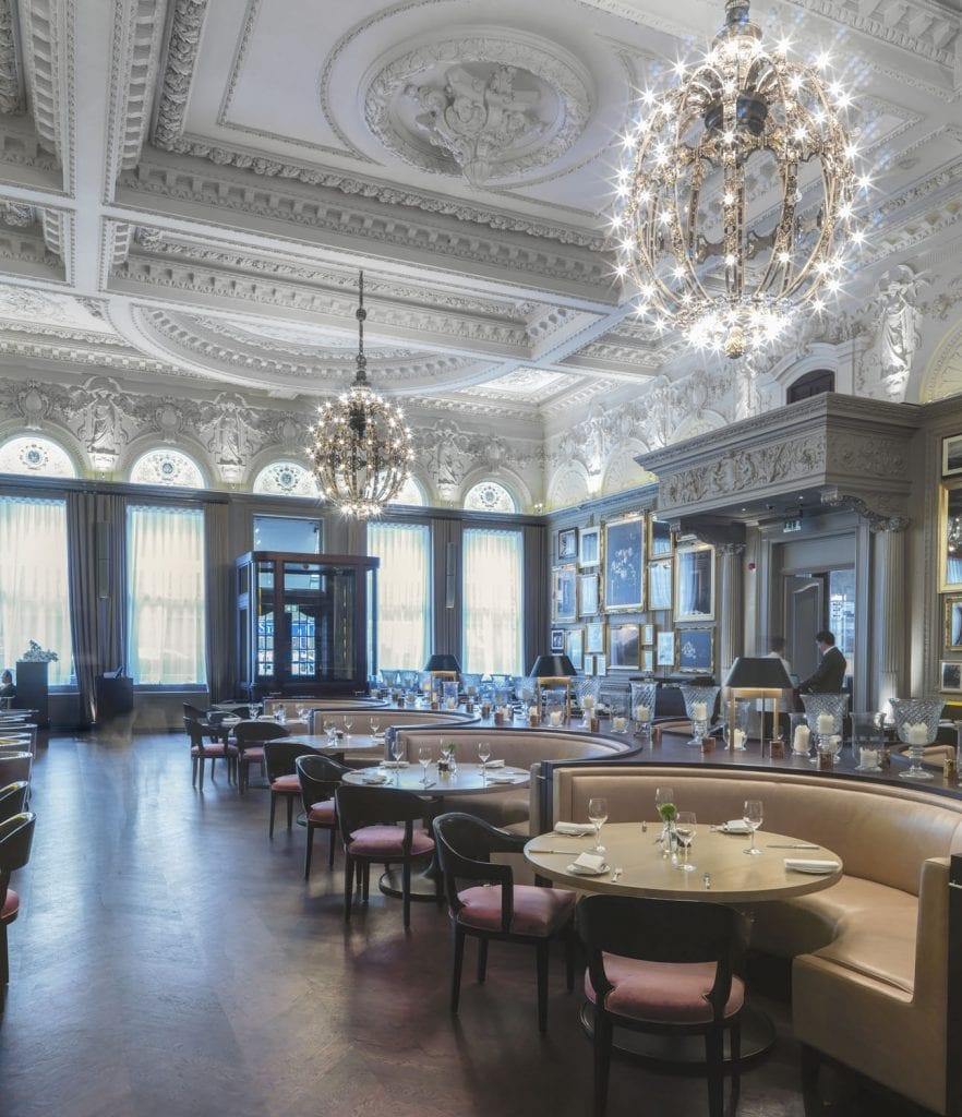 Berners Street Hotel restaurant interior, Berners street, Marylebone. view towards north west. Taken for Survey of London