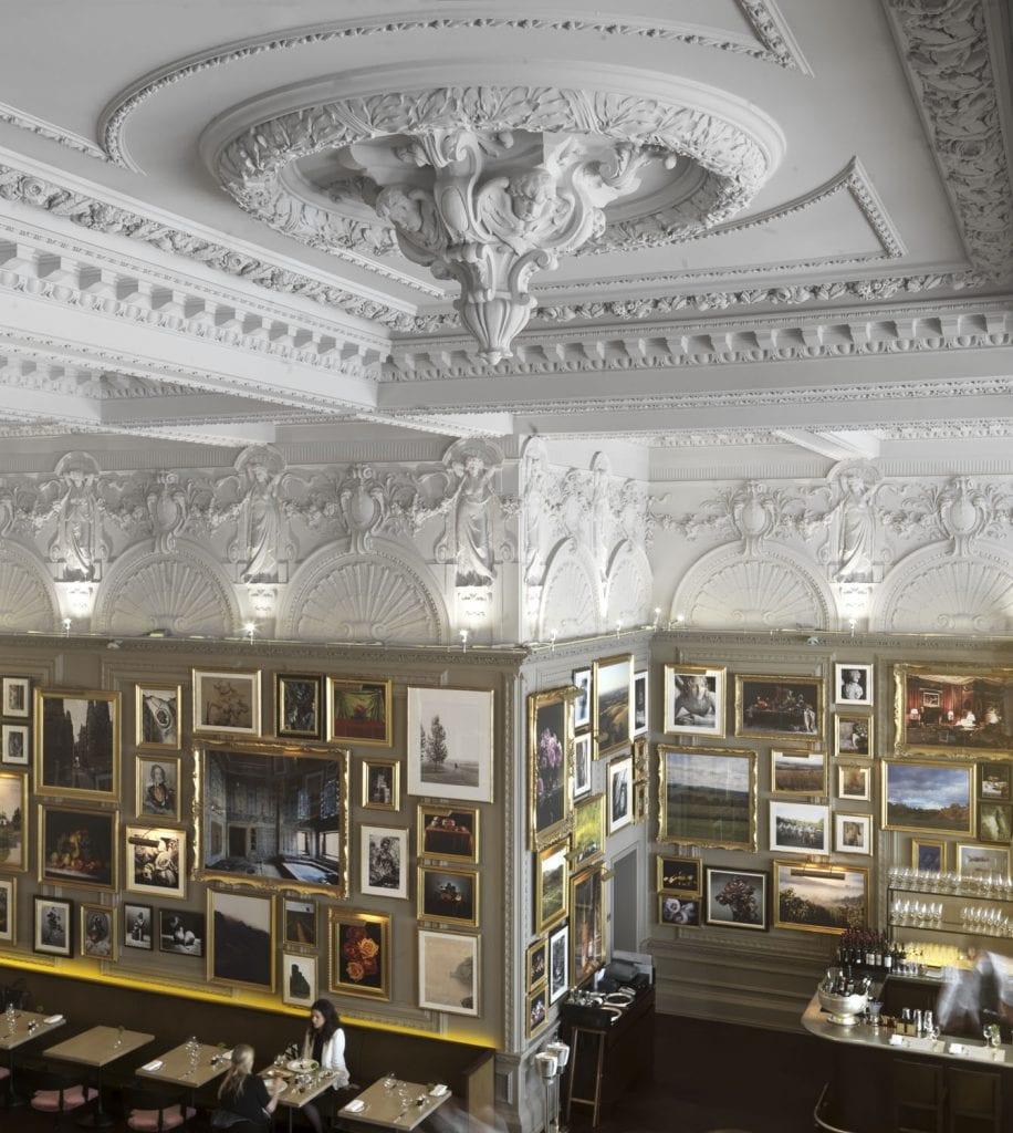 Berners Street Hotel restaurant interior, Berners street, Marylebone. view towards south. Taken for Survey of London