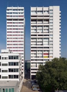 University of Westminster student housing tower at the Marylebone Road campus (left) and Luxborough Tower, looking east, 2014 (HEA photograph DP177602)