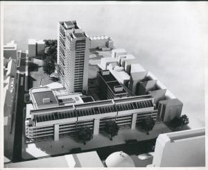 Architectural model of proposed redevelopment of Marylebone Road campus (University of Westminster Archives, UWA/RSP/7/a/4/2)