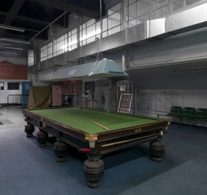 Royal Mail Rathbone place sorting centre.Rathbone place, Marylebone, Greater London. snooker table in recreation area. Taken for The Survey Of London.
