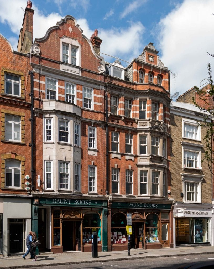 Marylebone High Street, Daunt's bookshop and on the right No. 83 A built around 1859. Photographed by Chris Redgrave.