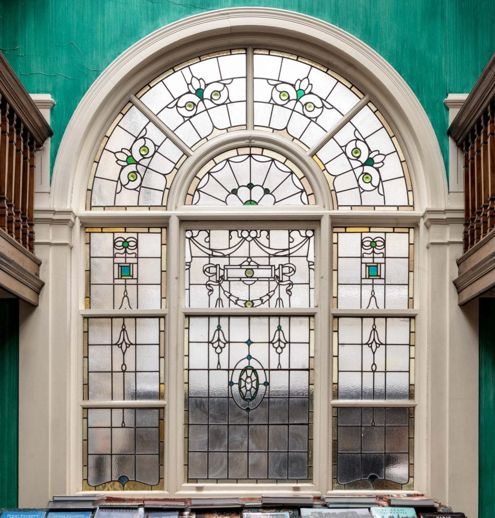 Arched window at the end of the gallery at 83 Marylebone High Street. Photographed by Chris Redgrave.