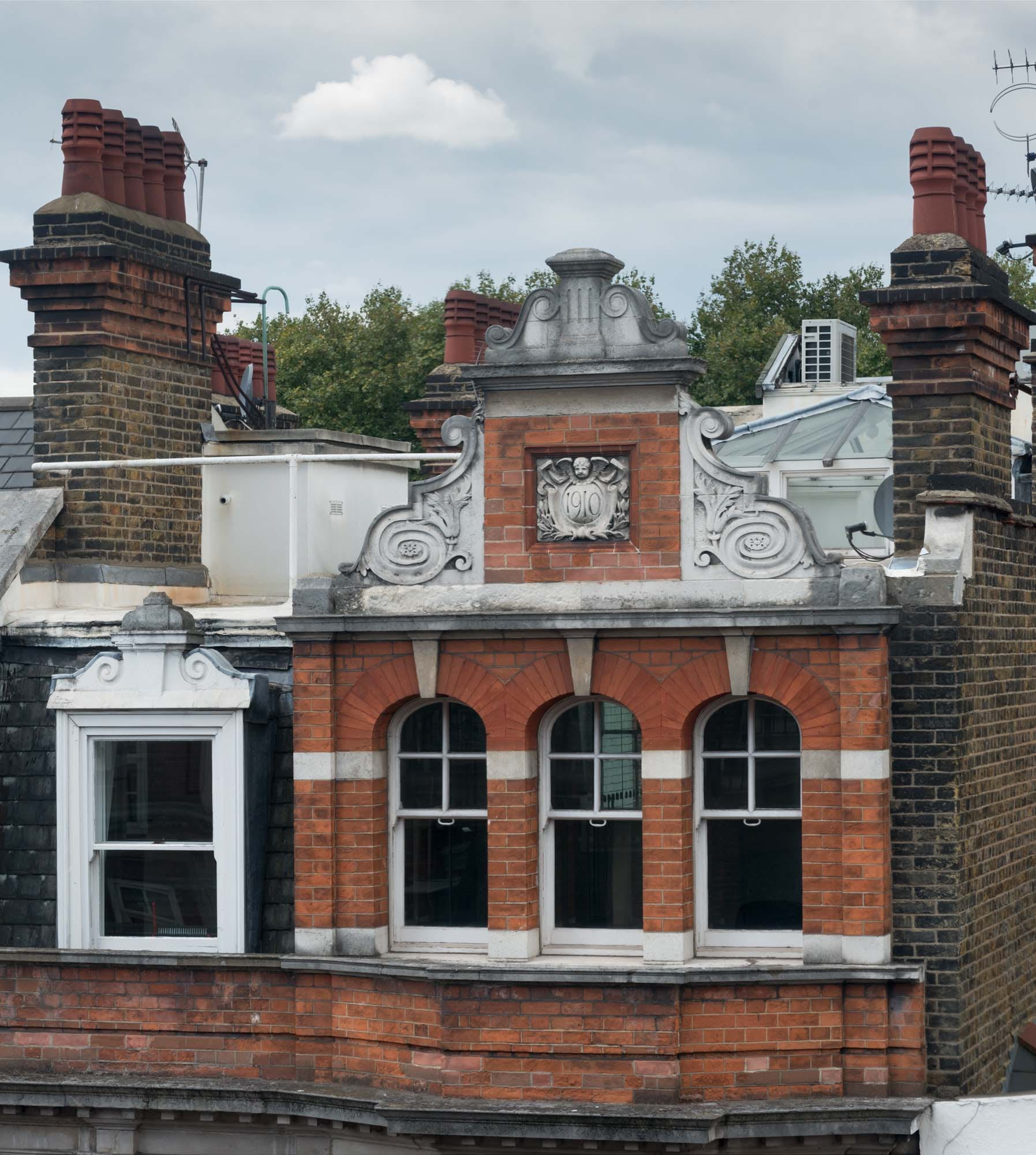 Detail of the gable of No. 83 Marylebone High Street photographed by Chris Redgrave