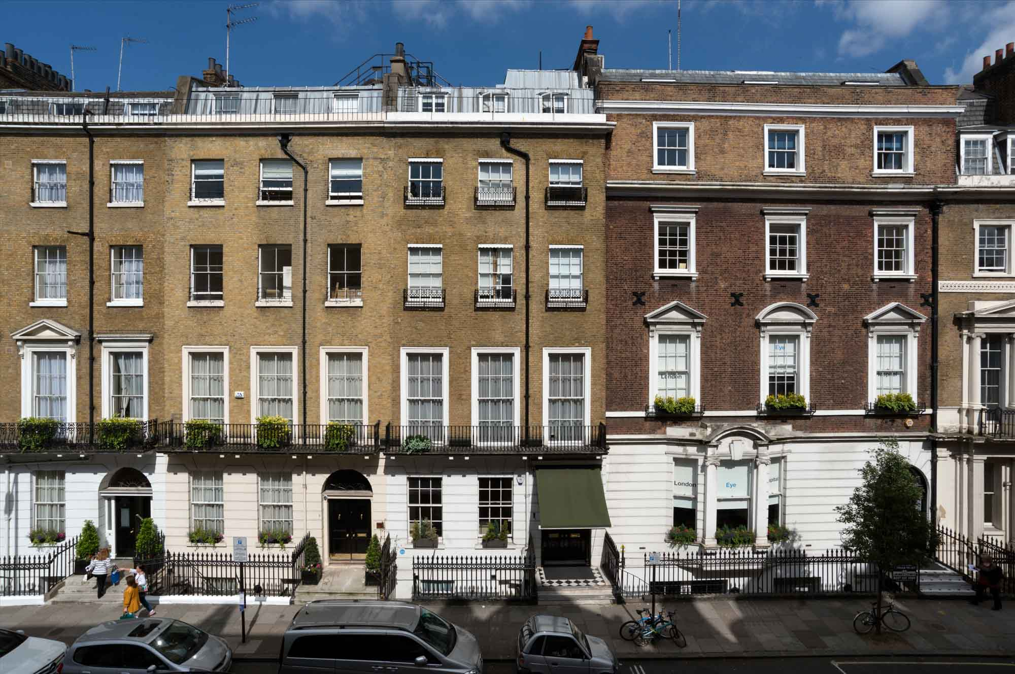 For most of its history, the southern end of Harley Street was the more fashionable address. Nos 6 and 8 to the left were built in 1825-7, probably by the architect Thomas Hardwick.