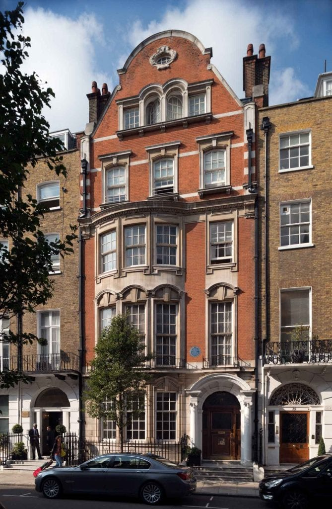 73 Harley Street. Gladstone lived in the house previously on this site, which would have resembled those on either side. The present No. 73