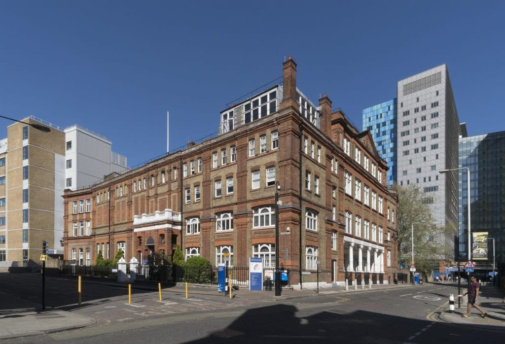 Project; Survey of London - Whitechapel. Site; Garrod Building - London Hospital Medical College, Turner Street, Whitechapel, Tower Hamlets, London. Exterior, view from south west.