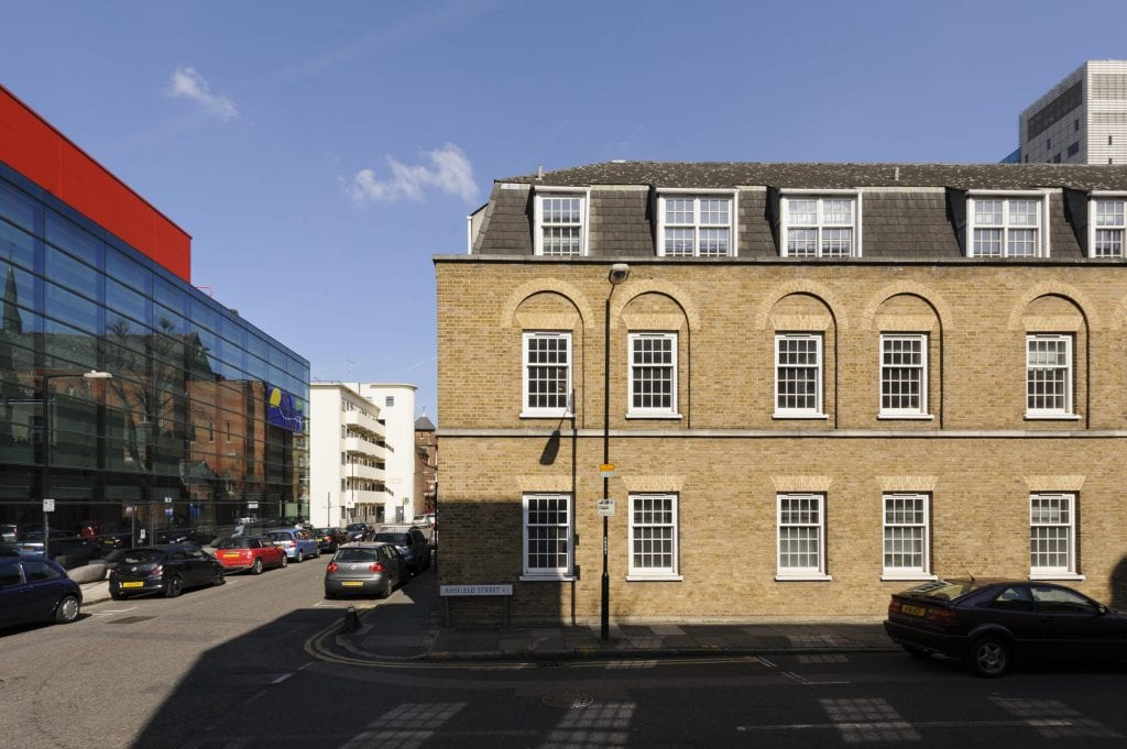 Survey of London - Whitechapel Volume Buildings on north side of Ashfield Street, view from south.