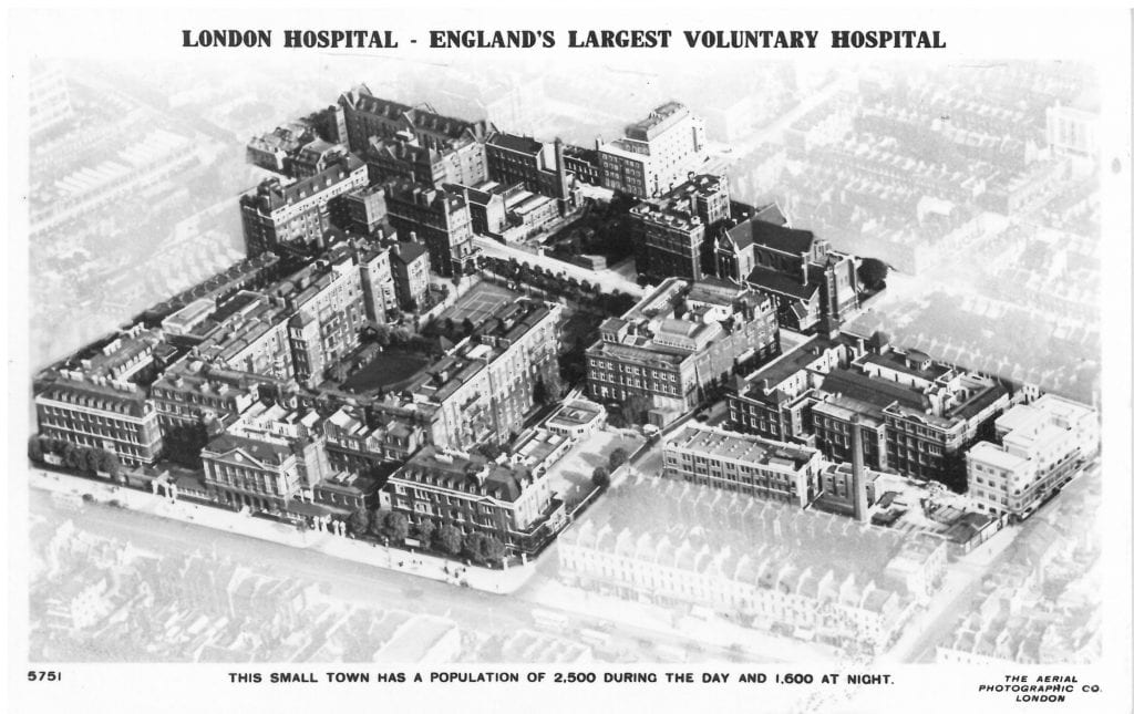Aerial view of the London Hospital in the 1930s.