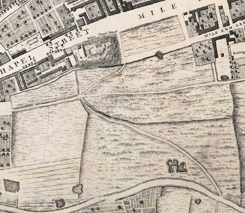 The hospital was built on the rectangular field east of Whitechapel Mount, an artificial hill formed as part of the fortifications built round London in the 1640s. It was bounded by open fields to the south belonging to the Red Lion Farm. (Extract from John Rocque's map of London c.1746)