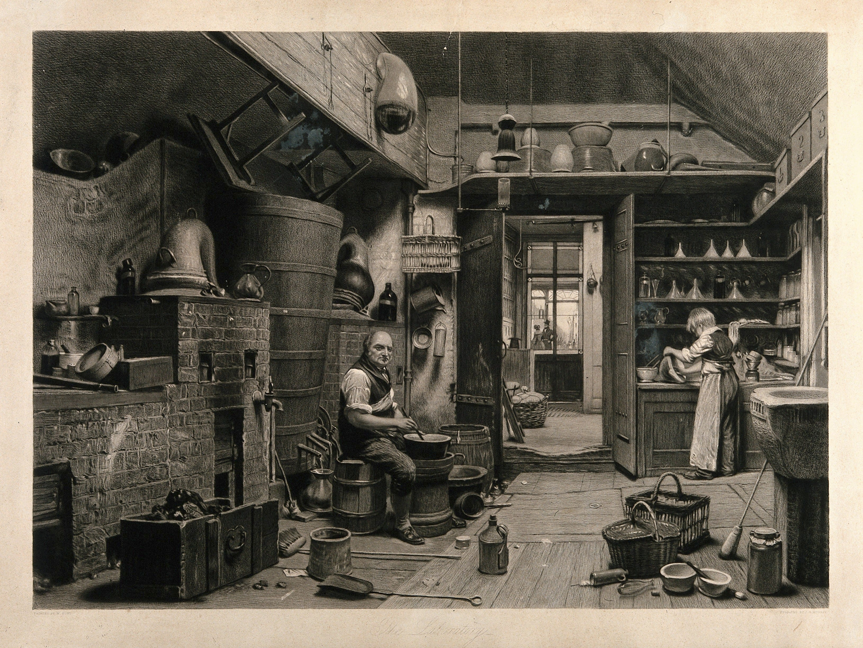 c853ca40d6c8 John Simmons and his apprentice working in the laboratory of John Bell's  pharmacy in Oxford Street. Engraving by J. G. Murray, 1842, after W. H.  Hunt.