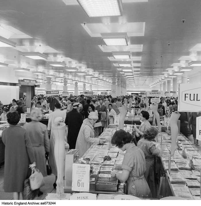 1da2d797d4da Sales at Marks & Spencer, Oxford Street Pantheon branch, in the early  1960s. Stocking counter in the foreground (Historic England Archive)