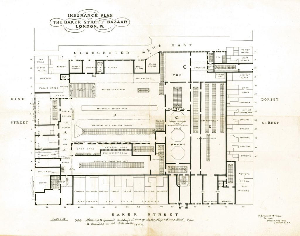 plan of the bazaar site, about 1900 (portman estate)  please click to  expand