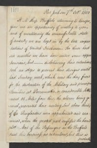 Elizabeth Paterson to Maria Sophia Bentham, 7 Oct 1800 (p.1) British Library Add. MS  33,453, fo. 423r