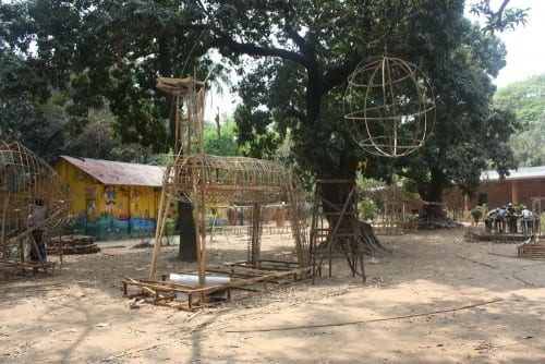Gigantic bamboo structures of traditional folk art being made at Dhaka University, Fine Art Campus, in preparation for Bengali New Year.