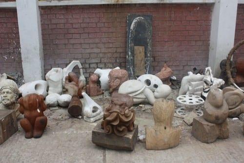 Students' sculptures outside the sculpture department.