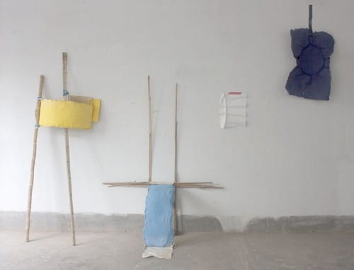 Presentation at the sculpture department 'Notes on Dhaka': Bamboo, jute, plaster, pigment, handmade paper, tape