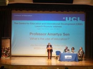 Prof Amartya Sen speaking at CEID Launch