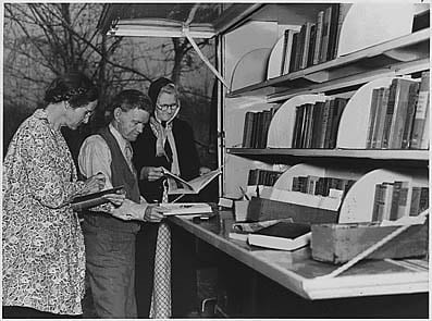 US library bookmobile, 1930's: from Franklin D Roosevelt Presidential Library and Museum online collection (copyright free)