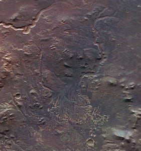 The delta deposits and channels in the Eberswalde crater provide a clear indication of liquid surface water during the early history of Mars.  Credits: ESA/DLR/FU Berlin (G. Neukum)