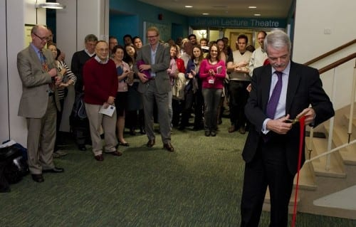 Professor Malcolm Grant, President and Provost, UCL cuts the ribbon to re-open the Darwin Building