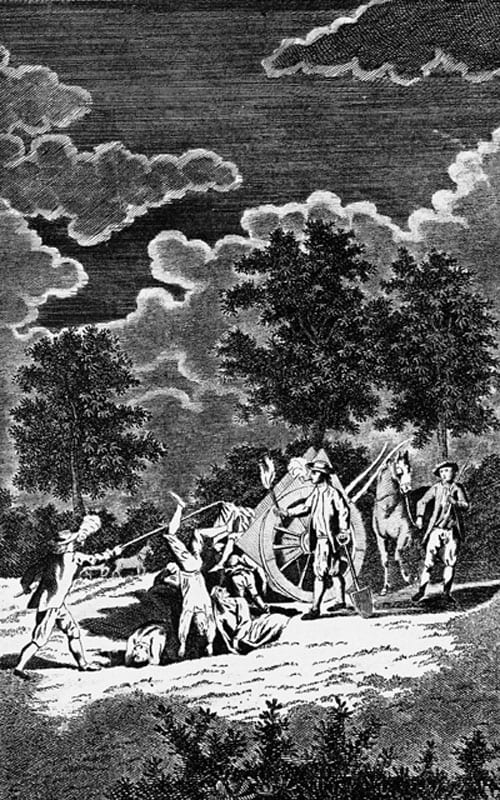 An engraving by Page after Samuel Wale depicting the burial of the dead at Holy Well near London during the dreadful plague in the Reign of Charles II, 1665.