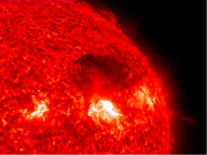 Solar flares on the surface of the Sun.