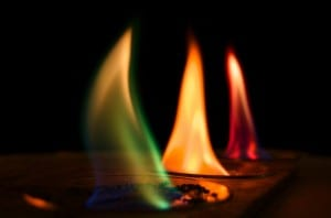 Copper, sodium and strontium flames have different colours Photo: scienceatlife on Flickr (CC BY NC SA)