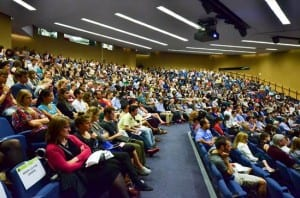 A packed audience