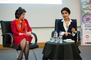 Dame Nicola Brewer and Shami Chakrabarti during Q&A session