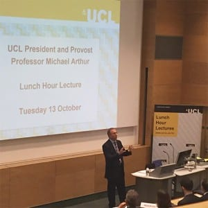 UCL President & Provost Michael Arthur speaks at the inaugural 2015-16 Lunch Hour Lecture