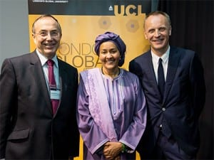 UCL President & Provost Professor Michael Arthur, Amina J. Mohammed and Dr Richard Horton, The Lancet Editor-in-Chief