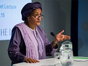 Amina J. Mohammed addresses audience members