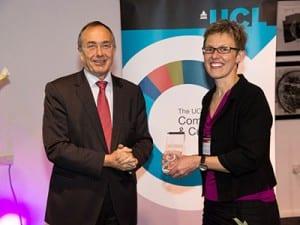 Cath Mercer collecting Soazig's award