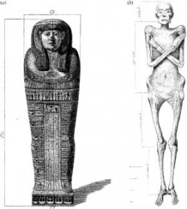 Dr Granville's drawing of Lady Irtyersenu's mummy