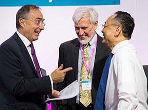 UCL President & Provost Professor Michael Arthur, UCL Nobel prizewinner Professor John O'Keefe and Dr Gerald Chan
