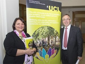 UCL President & Provost, Professor Michael Arthur and Karen Smith, UCL Wellbeing Consultant