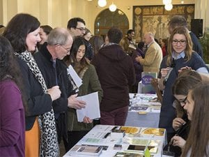 Attendees at one of the wellbeing information stands