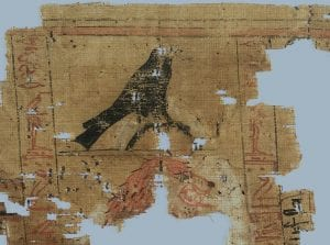 Detail from a Fragmentary papyrus scroll bearing on one side columns of cursive hieroglyphs and vignettes giving a selection of formulae from the Book of the Dead for a man named Tjaymesu or Paymesu (initial sign unclear).